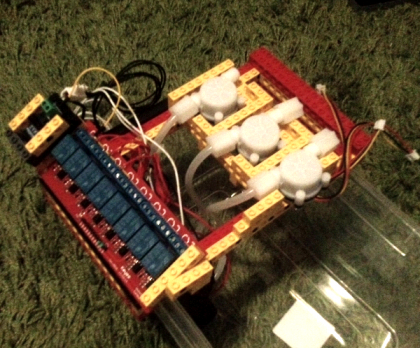First watering system prototype, with flow sensors and a lego frame.